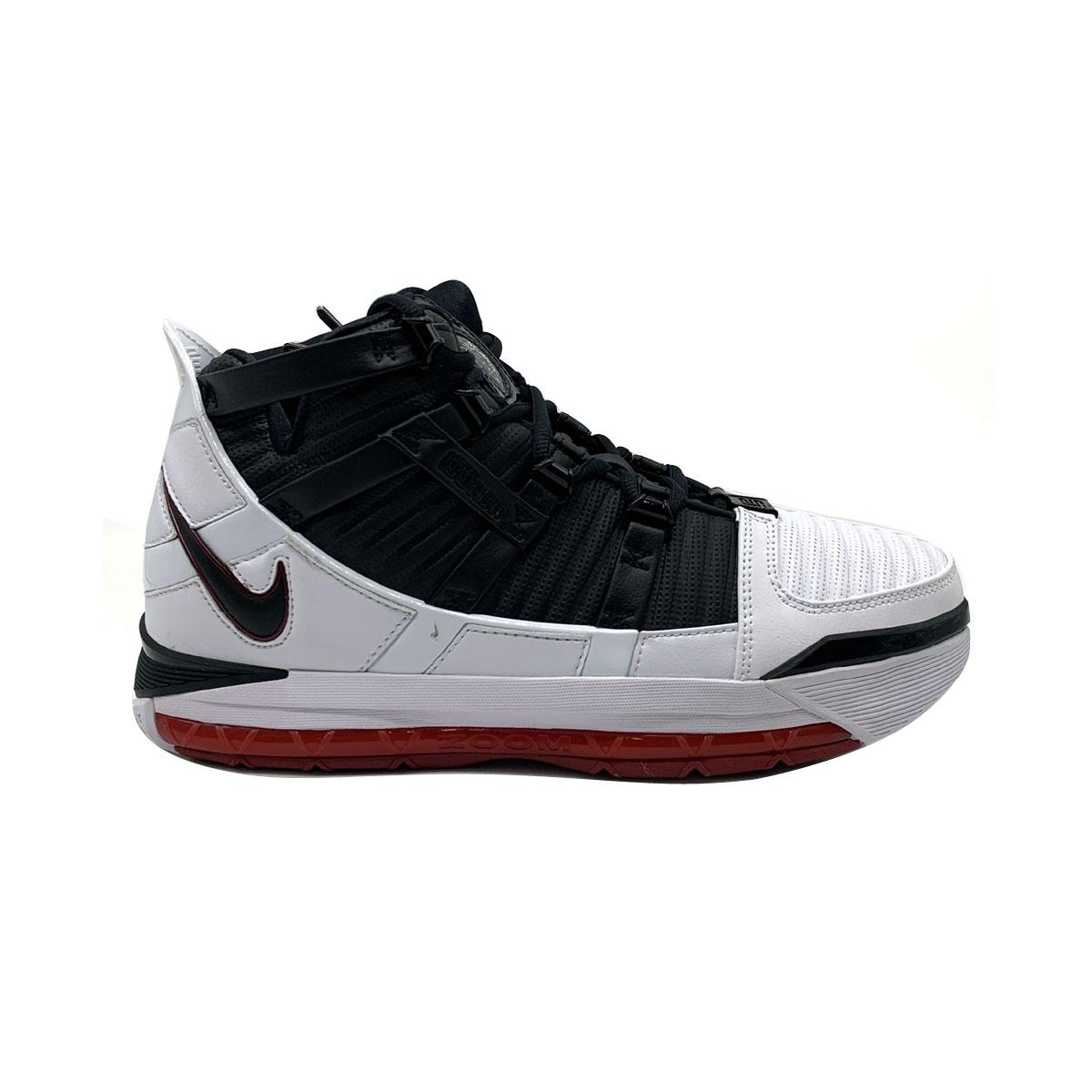 best service d6de4 46e81 Details about Nike Men's LeBron 3 III QS Home White Black Varsity Crimson  Basketball Shoes
